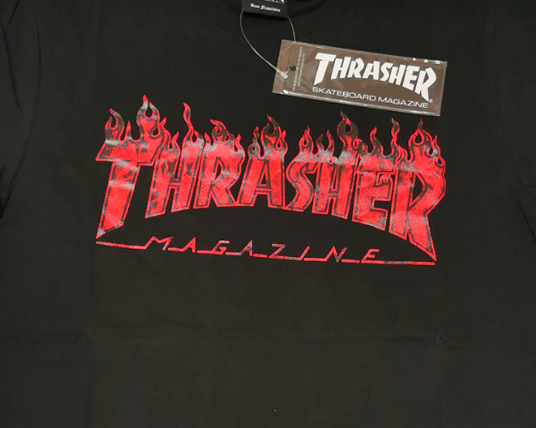 Thrasher Ghost Flame T-Shirt Black with Red Flames