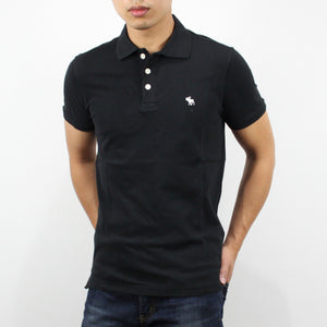 Abercrombie & Fitch Stretch Icon Polo Shirt Black