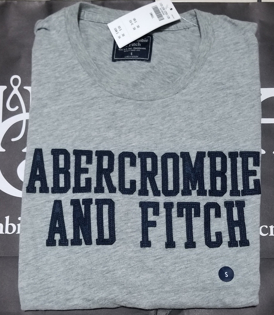Abercrombie & Fitch Heritage Applique Logo Graphic Tee Grey