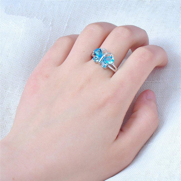 Butterfly Light Blue Wedding Rings