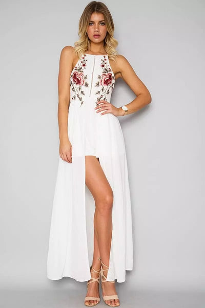 Backless Embroidered Boho Maxi Dress