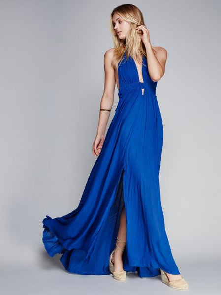 Backless Tassel Halter Bohemian Dress