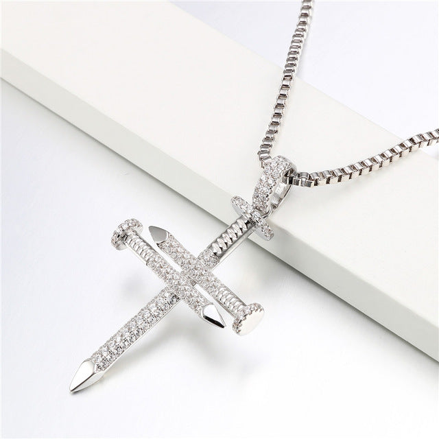 Silver Nueblo Nail Cross Necklace  Nueblo