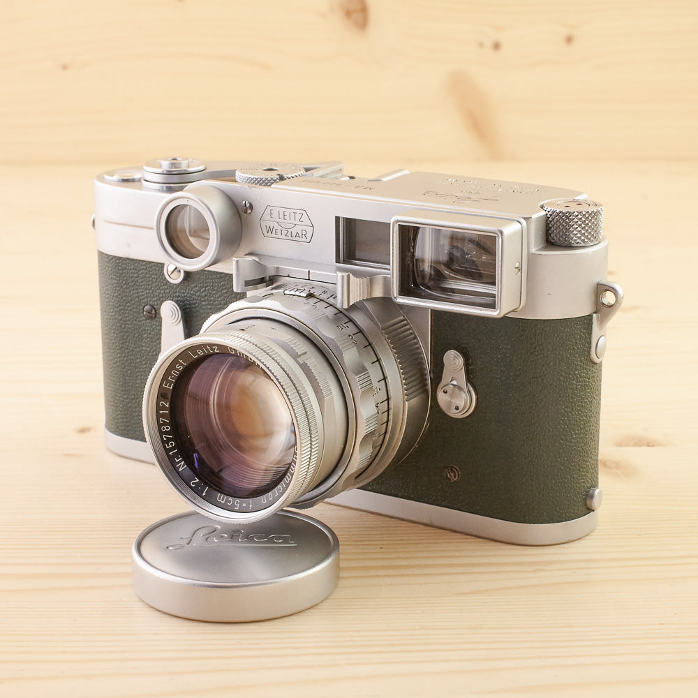 Leica M3 SS Green w/ 50mm f/2 Summicron Dual Range and Specs Exc