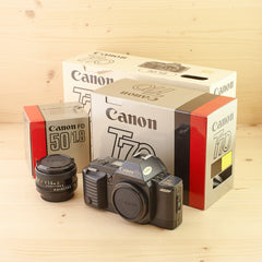 Canon T70 w/ 50mm f/1.8 Outfit Mint- Boxed