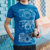 Illustrated Camera Trio T-Shirt Blue/Black