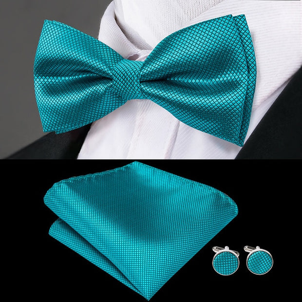 Men's Bow Tie, Pocket Hanky & Cufflinks Set