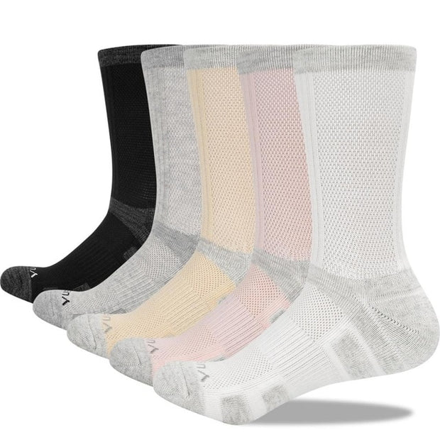 5 Pairs Yuedge Womens Light Hiking Crew Socks