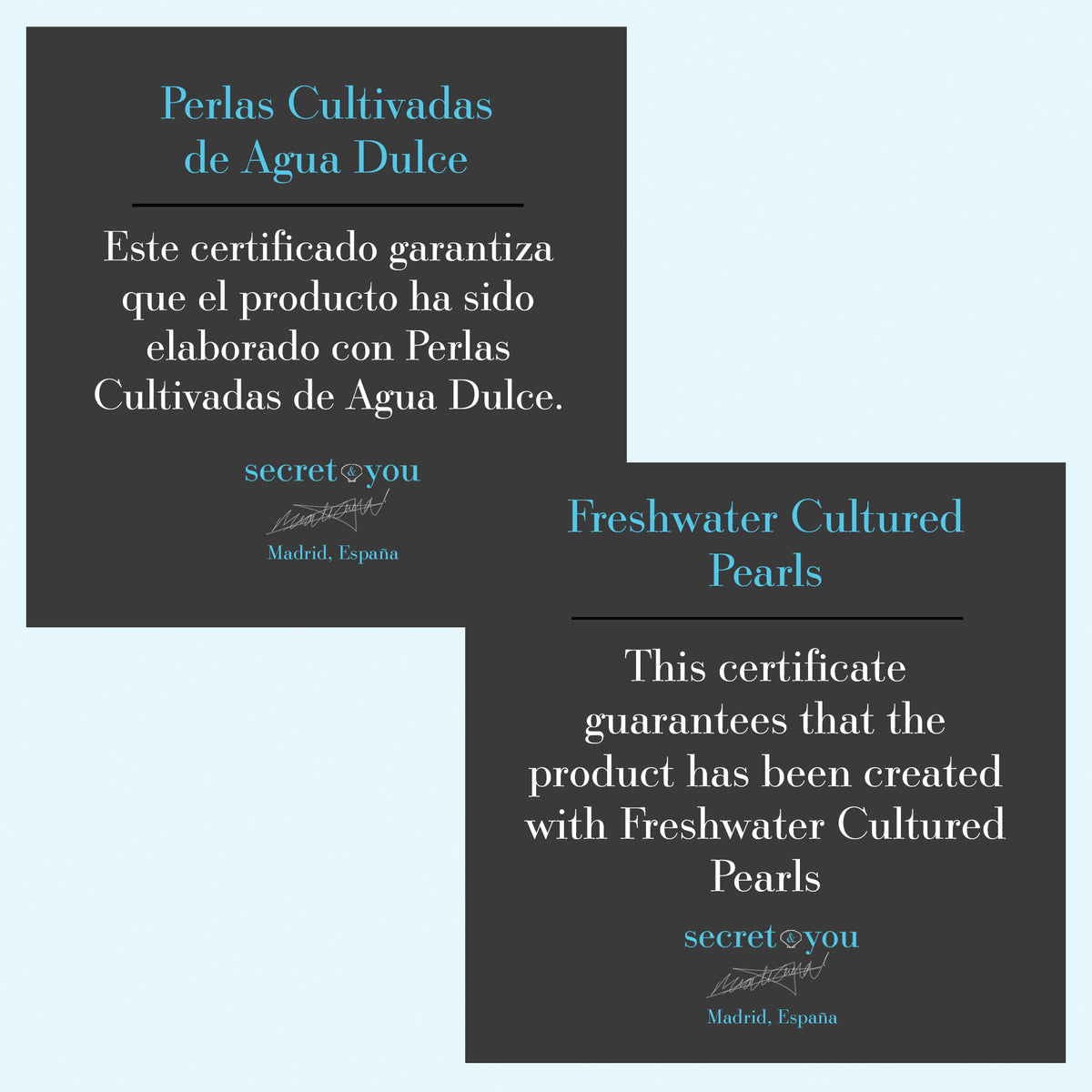 Certificado Perlas Cultivadas Agua Dulce Secret & You