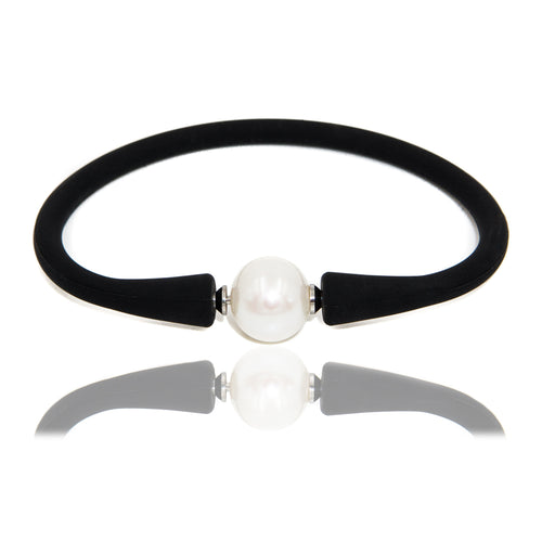 Pulsera de Caucho con Perla de 11 mm Intercambiable