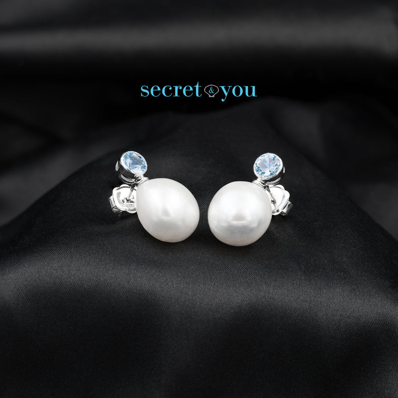 Pendientes de Perlas Barrocas con Circonitas Aguamarina Secret & You