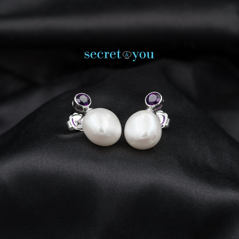Pendientes de Perlas Barrocas con Circonitas Amatista Secret & You
