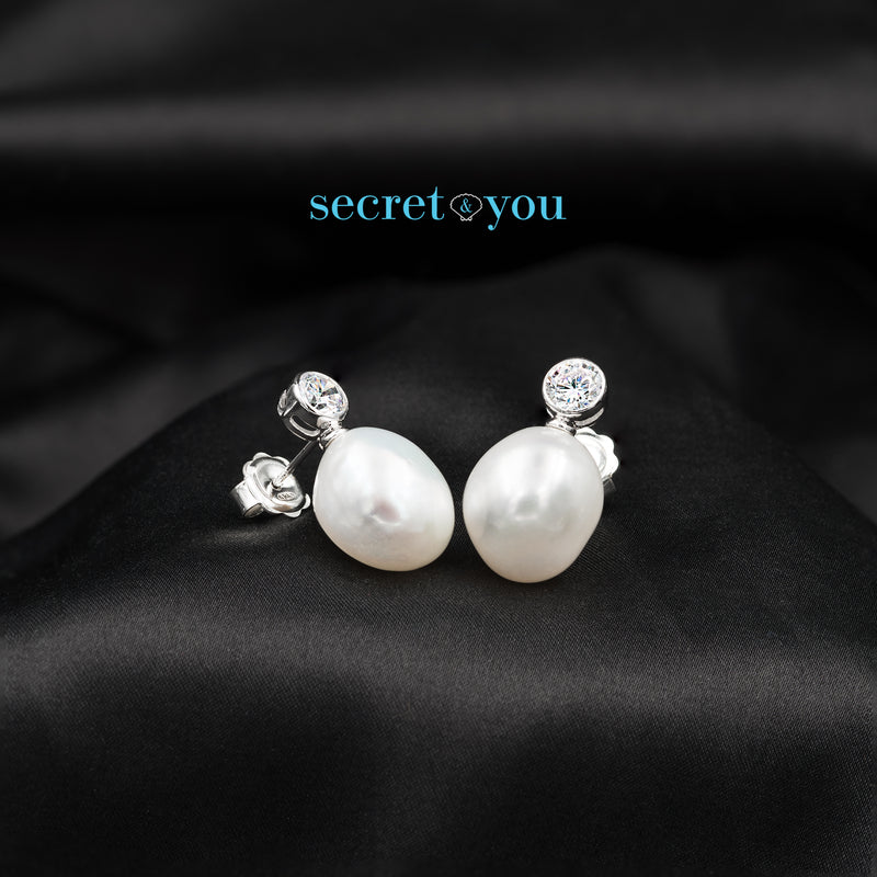 Pendientes de Perlas Barrocas con Circonita Diamante Secret & You