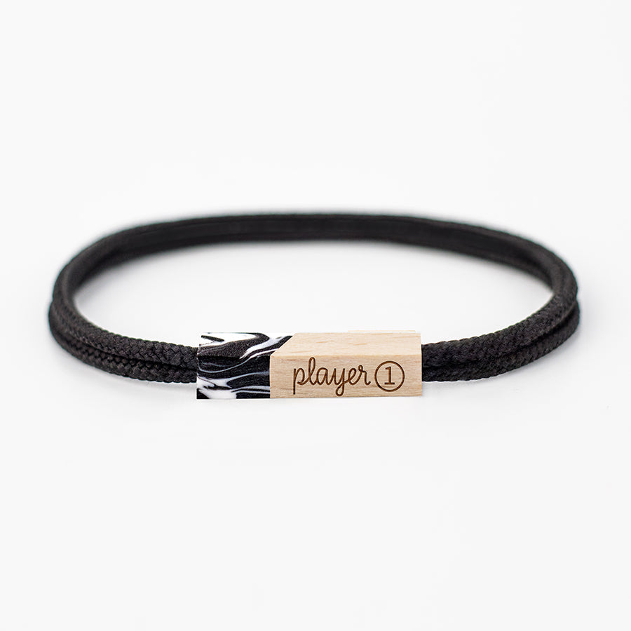 pulseras grabadas player one black