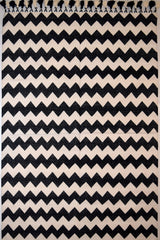 Chevron with Pom-pom Fringe Dhurrie Design