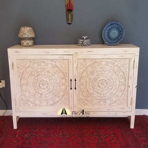 Wooden Carved 2-Door Buffet Cabinet