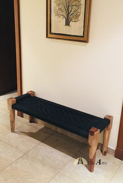 Hand-woven Charpai Bench, Black