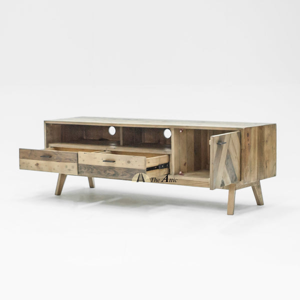 Reva Reclaimed Pine Parquet Media Console Unit TV Stand Timber Solid Wood Retro