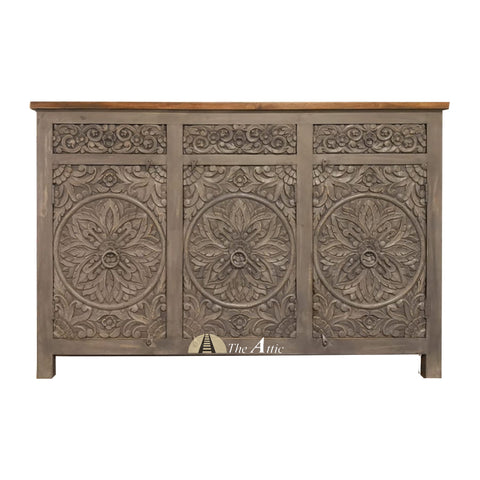 Grey 3-Door 3-Drawer Carved Circles Credenza with Brown Counter Top - The Attic Dubai