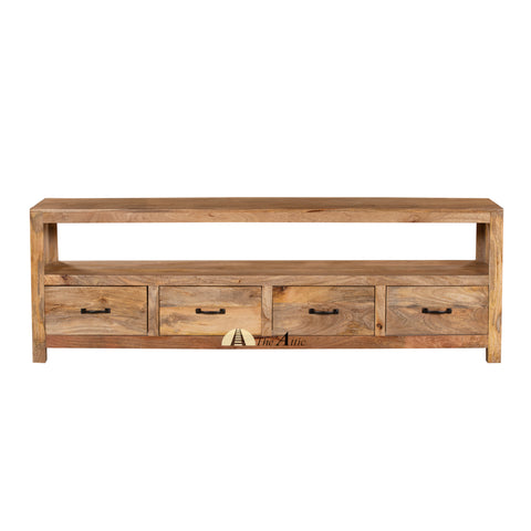Adelaide Rustic Solid Wood 4-Drawer TV Unit, 180cm - The Attic Dubai