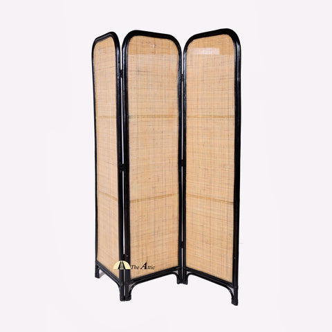 Amarta Rattan 3 Panel Room Divider Screen with Black Frame