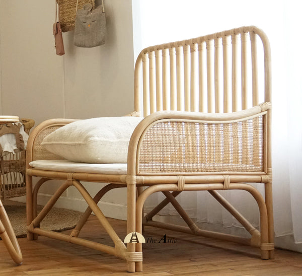 Amber Natural Rattan Kids Bench / Day Bed , Bohemian Nursery Furniture - The Attic Dubai
