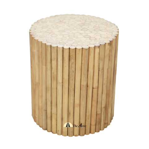 Avon Natural Rattan Round Side Table, Rattan Furniture - The Attic Dubai