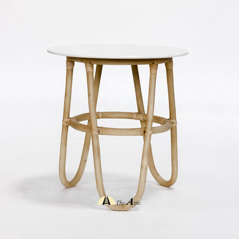 Bali Rattan Round Side Table, White Side Table - theattic-dubai.com