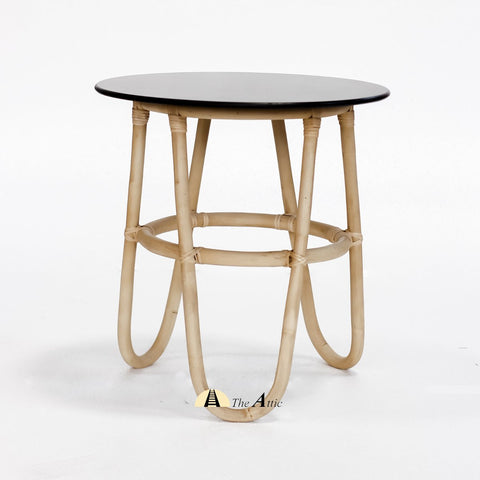 Bali Rattan Round Side Table, Black Side Table - theattic-dubai.com