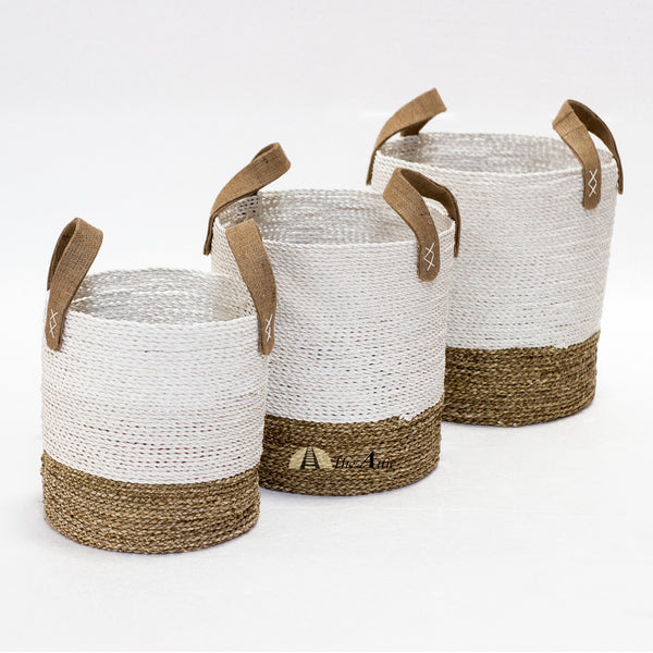 Pandan Basket with Handles, White & Natural, Set of 3 - theattic-dubai.com