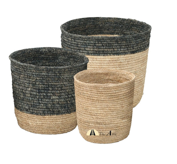 Pandan Baskets, Black & Natural, Set of 3 - TheAttic-Dubai.com