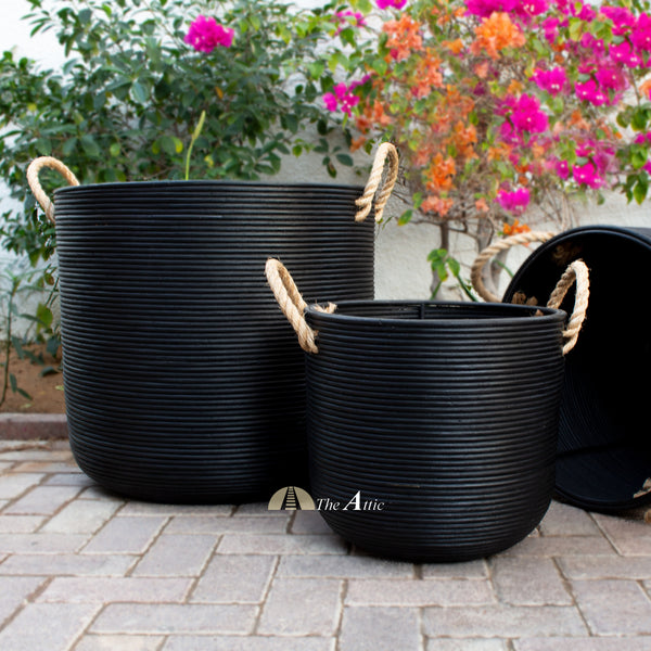 Zaire Rattan Basket with Handles, Black - TheAttic-Dubai.com