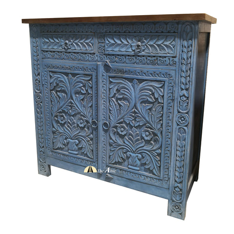 Blue Carved 2-Door 2-Drawer Side Unit