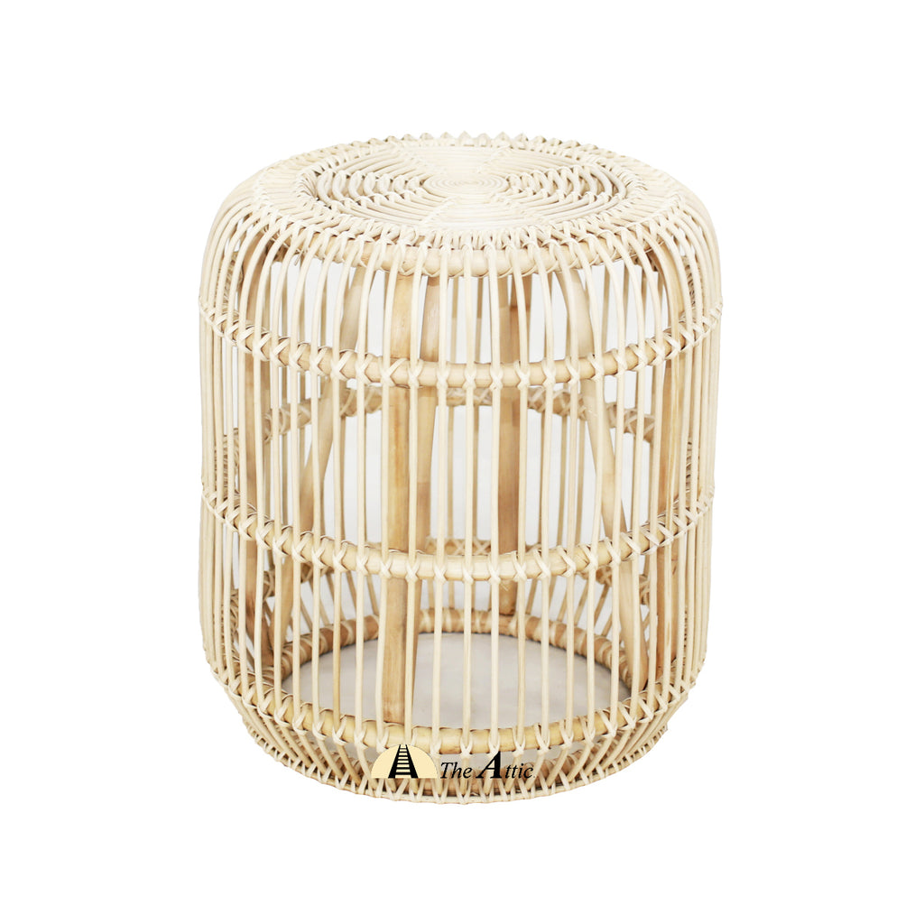 Bohol Natural Rattan Round Side Table, Rattan Furniture - The Attic Dubai