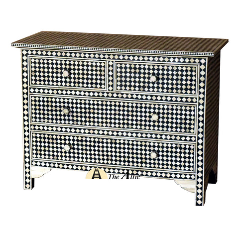 Black & White Mosaic Bone Inlay Console Chest of Drawers