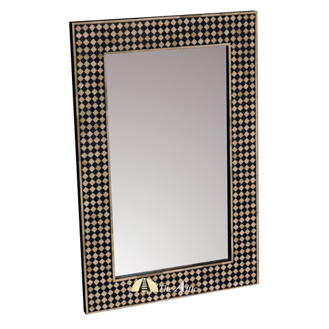 Black & White Mosaic Bone Inlay Wall Mirror