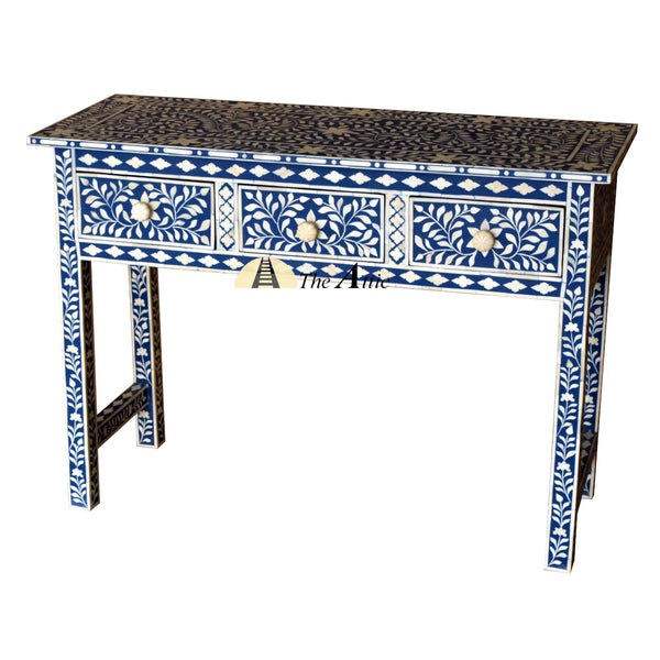 Blue & White Bone Inlay Console with Drawers