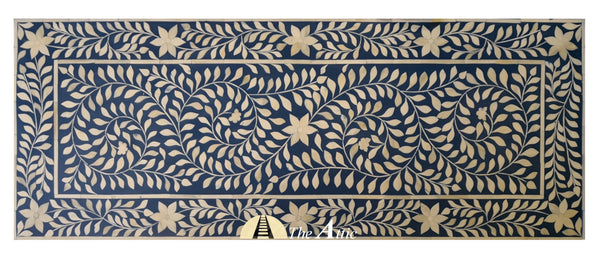 Blue & White Floral Bone Inlay Console with Drawers