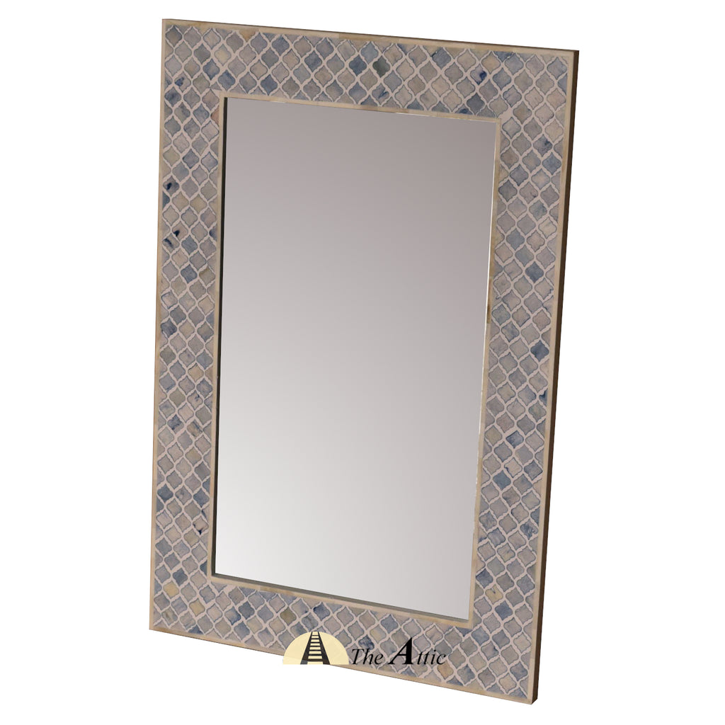 Aqua & White Mosaic Bone Inlay Wall Mirror