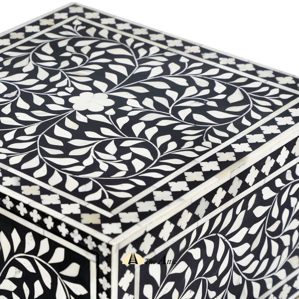 Black Floral Bone Inlay Side Table with Gold Legs - TheAttic-Dubai.com