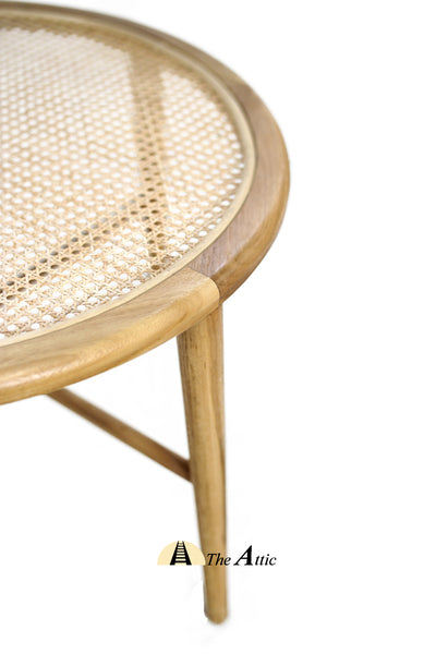 Bristol Teak and Natural Rattan Round Coffee Table, Rattan Furniture - The Attic Dubai