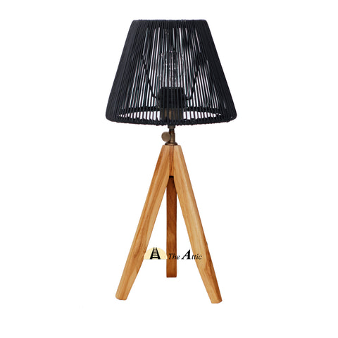Cardiff Rattan Tripod Table Lamp, Natural with Black Shade