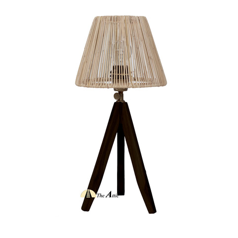 Cardiff Rattan Tripod Table Lamp, Black with Natural Shade