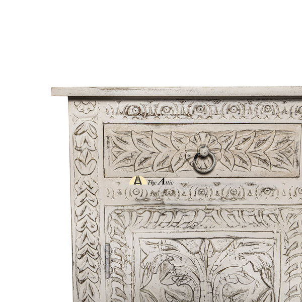 Carved Distressed White 4-Door 4-Drawer Buffet Sideboard