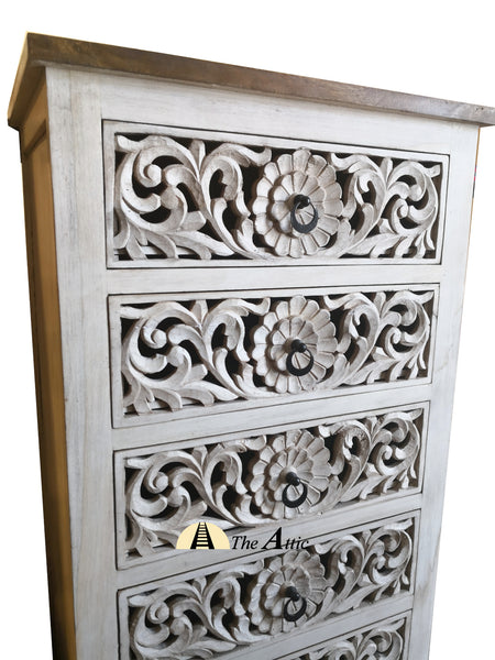 Tall Carved Console Chest of 6 Drawers The Attic
