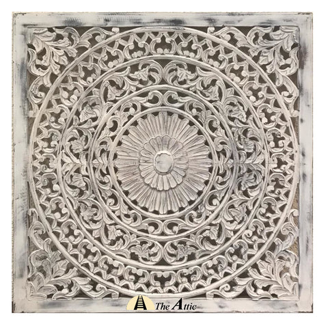 Carved Ornate Wall Panel, White, 90x90cm