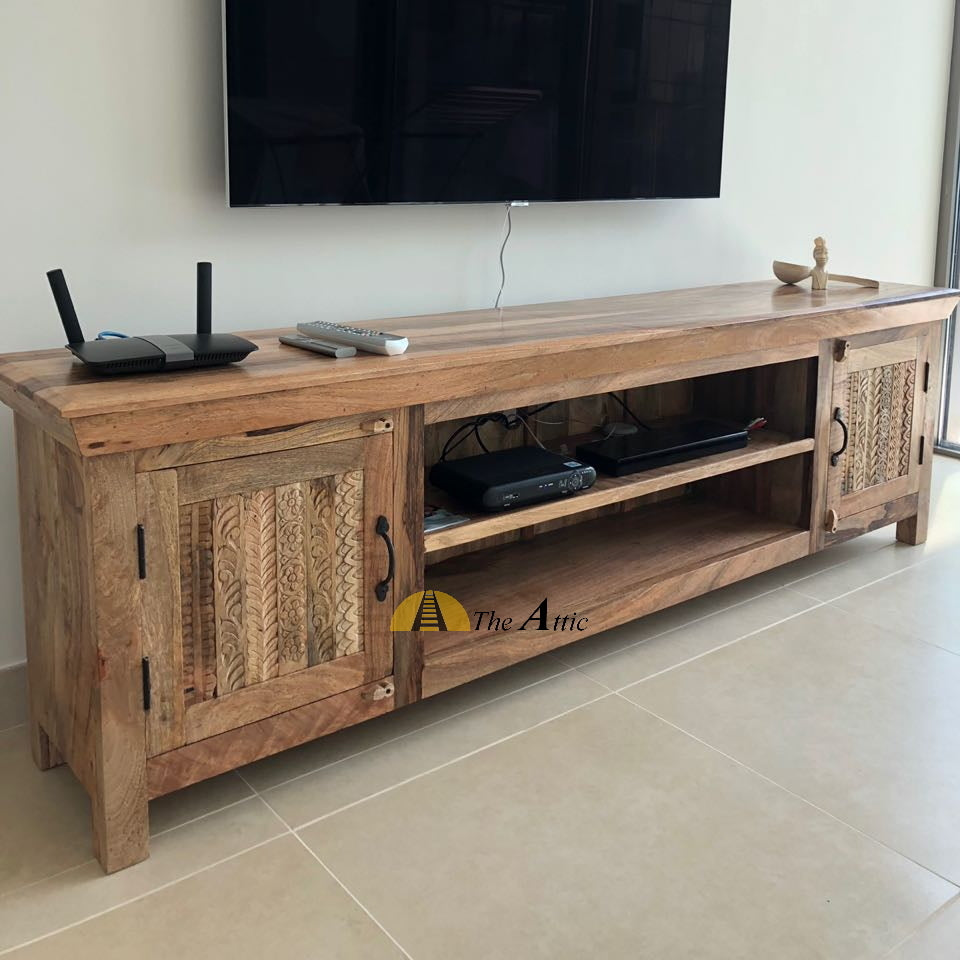 Solid Wood Media Unit with Carved Doors, 200cm