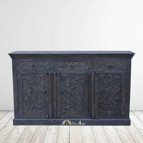 Charcoal Grey Carved 3-Door 3-Drawer Credenza