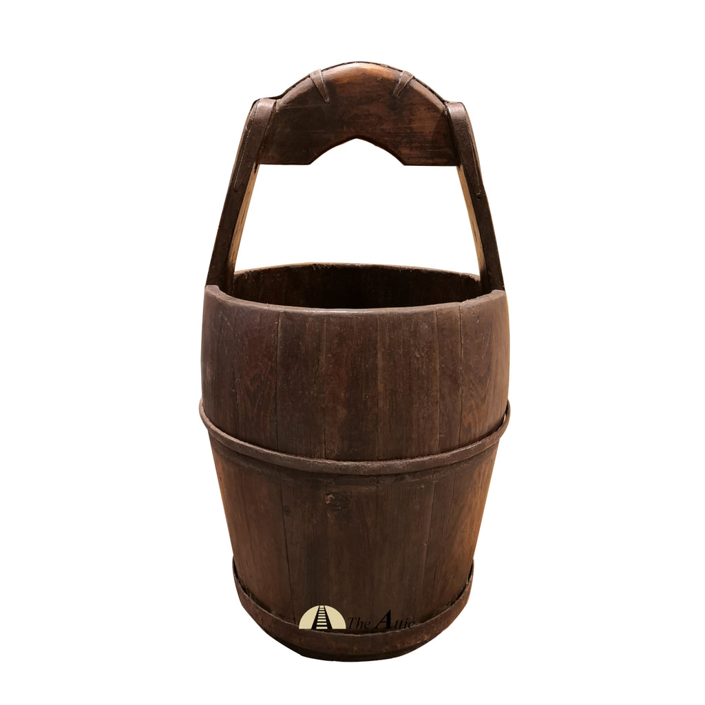 Vintage Chinese Wooden Water Bucket - The Attic Dubai