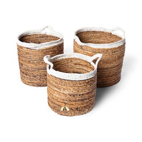 Cyprus 2-tone Woven Baskets with Handles, White & Natural - theattic-dubai.com